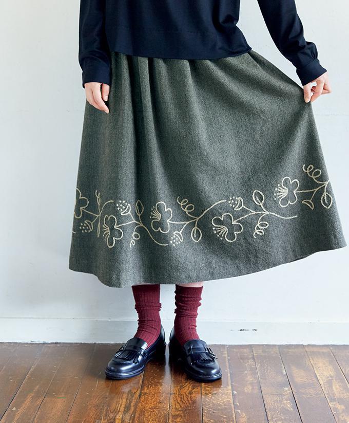0b856d5c8cd5e お花の刺しゅうがおしゃれ!ギャザースカートの作り方(スカート)|ぬくもり