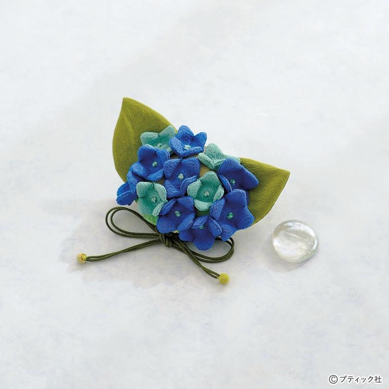 ちりめんで作る!かわいい紫陽花の花の巾着の作り方