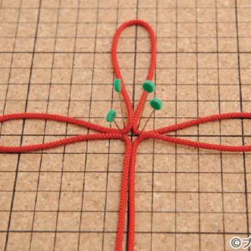 飾り結びの基礎「基本用具の使い方、ひもの締め方、端の始末」