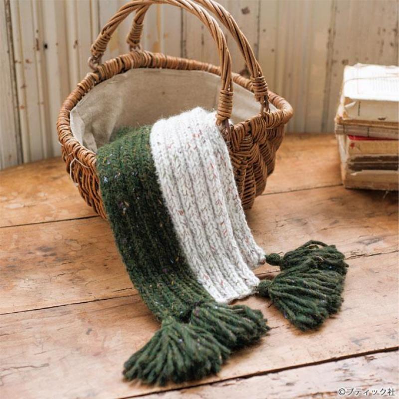 【簡単】棒針編みで作るマフラーの編み方