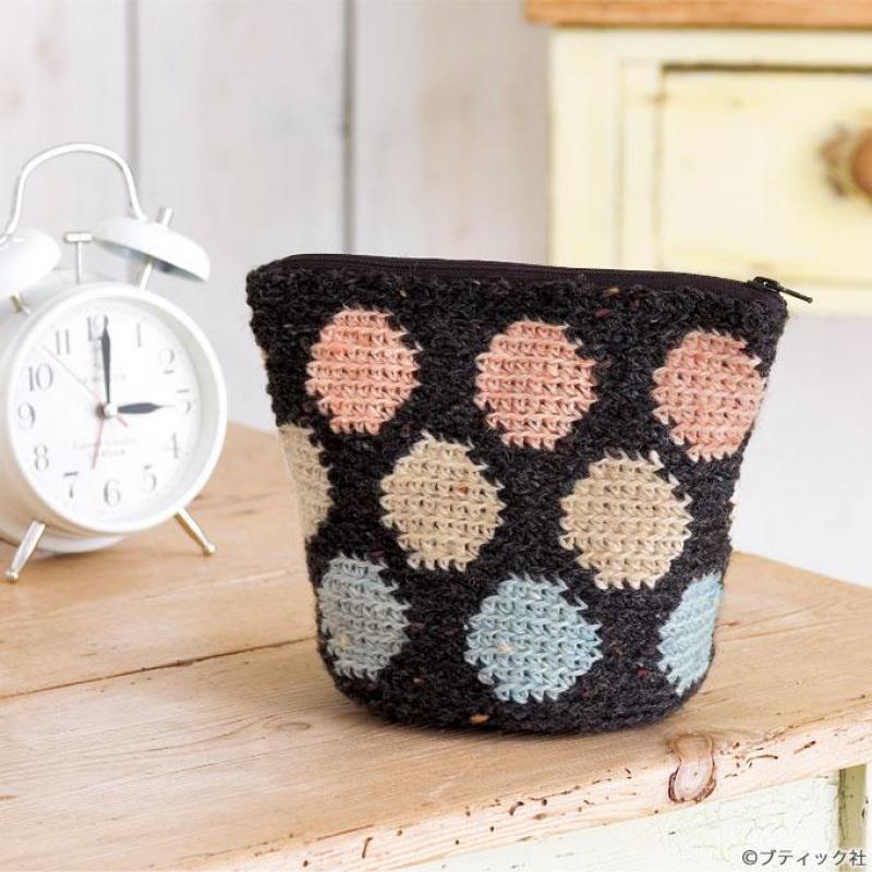 かぎ針編みで手作り!ドット柄のポーチの編み方