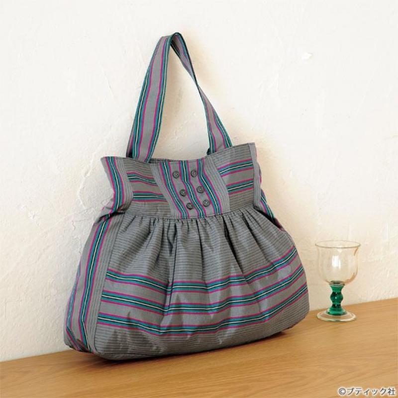 ギャザーがかわいい「和布のバッグ」の作り方
