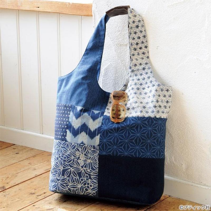 藍染め風プリント柄のショルダーバッグの作り方