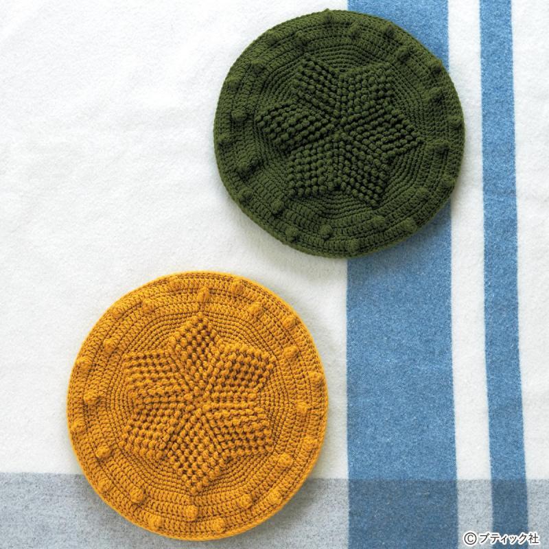 かぎ針のレシピ「雪柄モチーフの円座」の編み方