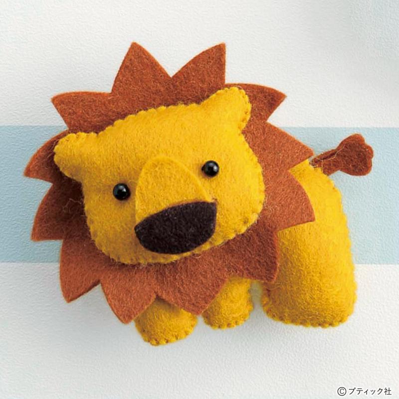 フェルトマスコット「楽しい動物園 ライオン」の作り方