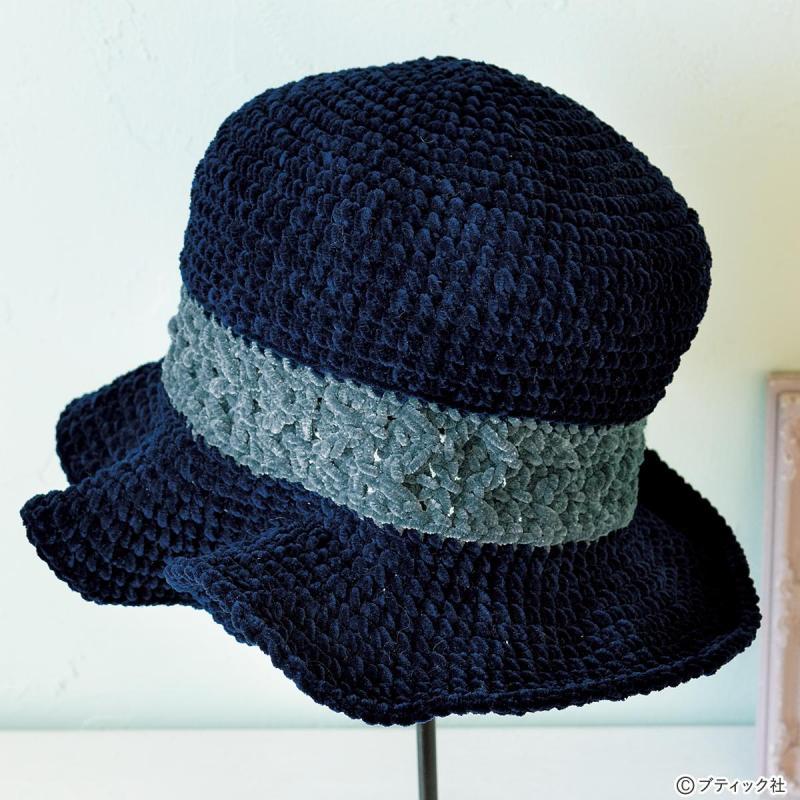 フリルのつばがかわいい「手編みの帽子」の作り方