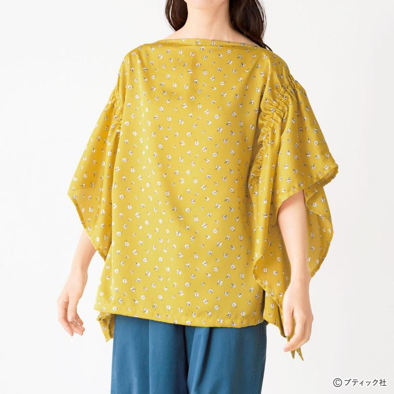 まっすぐ縫いの服「ギャザー使いのスクエアブラウス」作り方