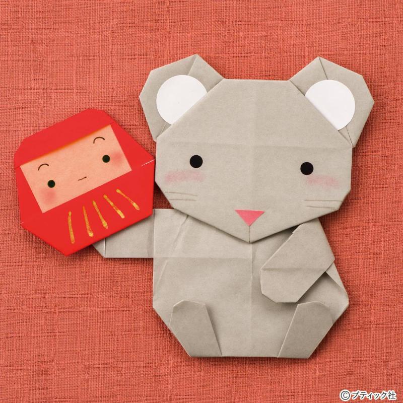 折り紙「ねずみ」の作り方(十二支の動物)