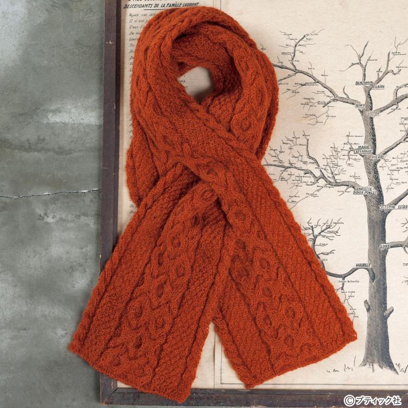 モヘアの糸で編む「アラン模様のマフラー」の作り方