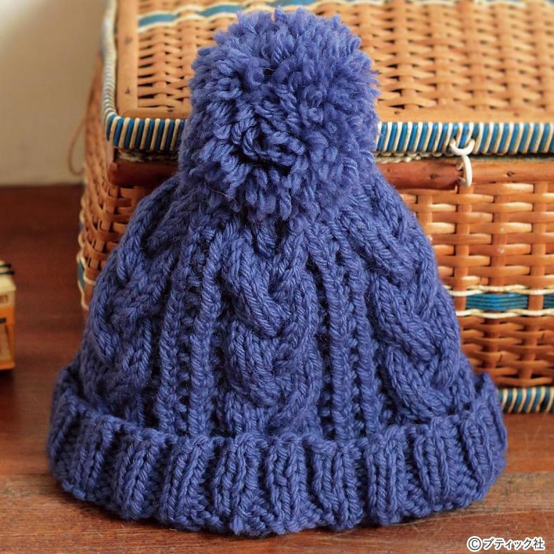 ポンポンがついた「子供用ニット帽」の編み方