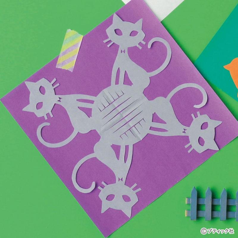 折り紙の切り絵「ねこと毛糸」の作り方