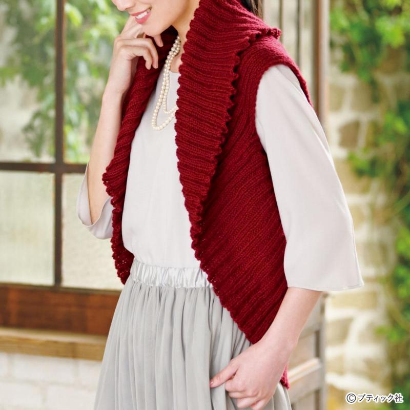 簡単!ニットの羽織りもの「マーガレット(ゴム編み)」の作り方