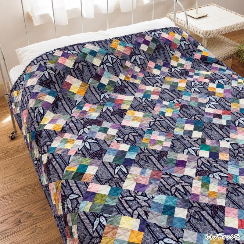 薄手で使いやすい「パッチワークのベッドカバー」作り方