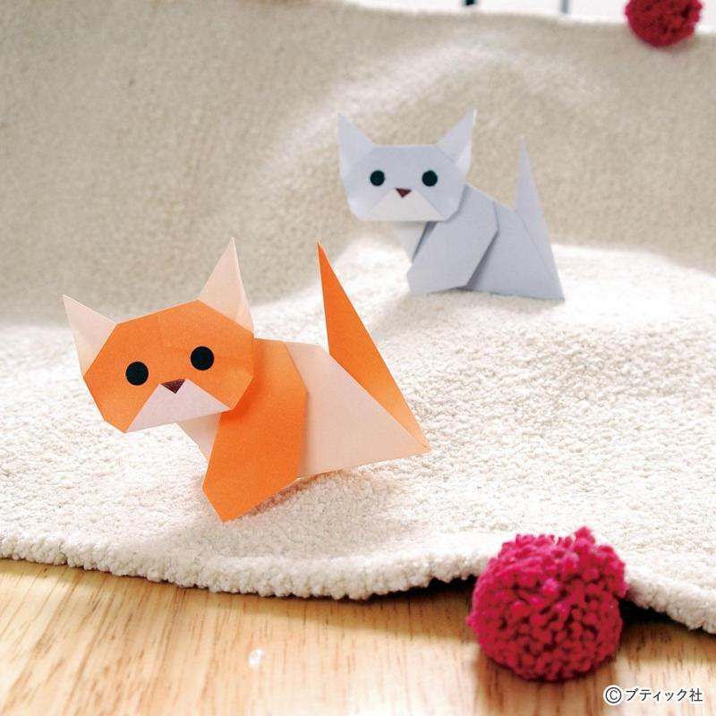 折り紙を1枚用意するだけ!簡単「仔猫(こねこ)」作り方