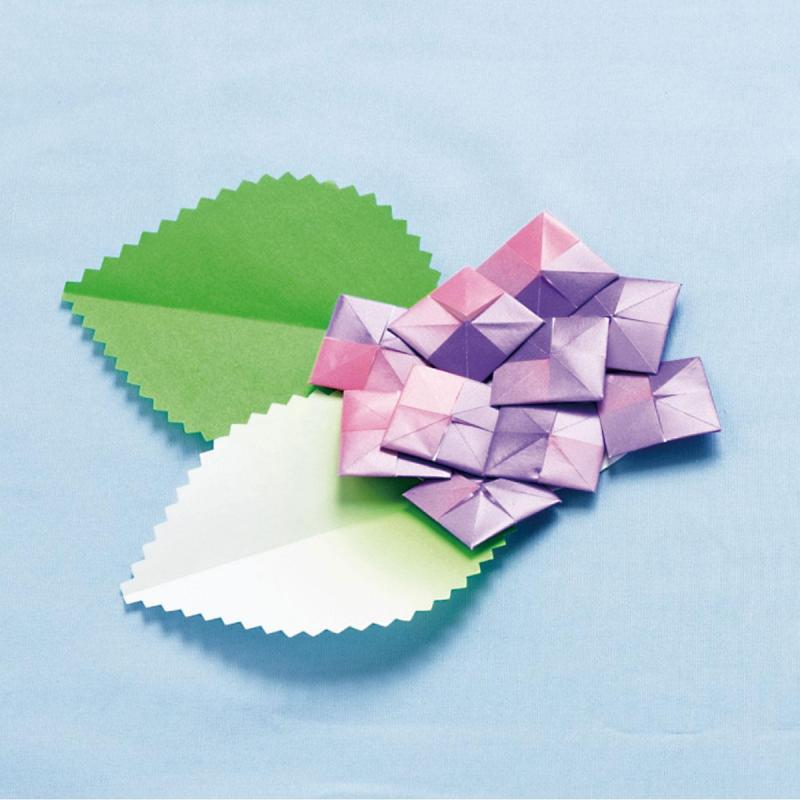 簡単!グラデーション折り紙を使った「あじさい」作り方
