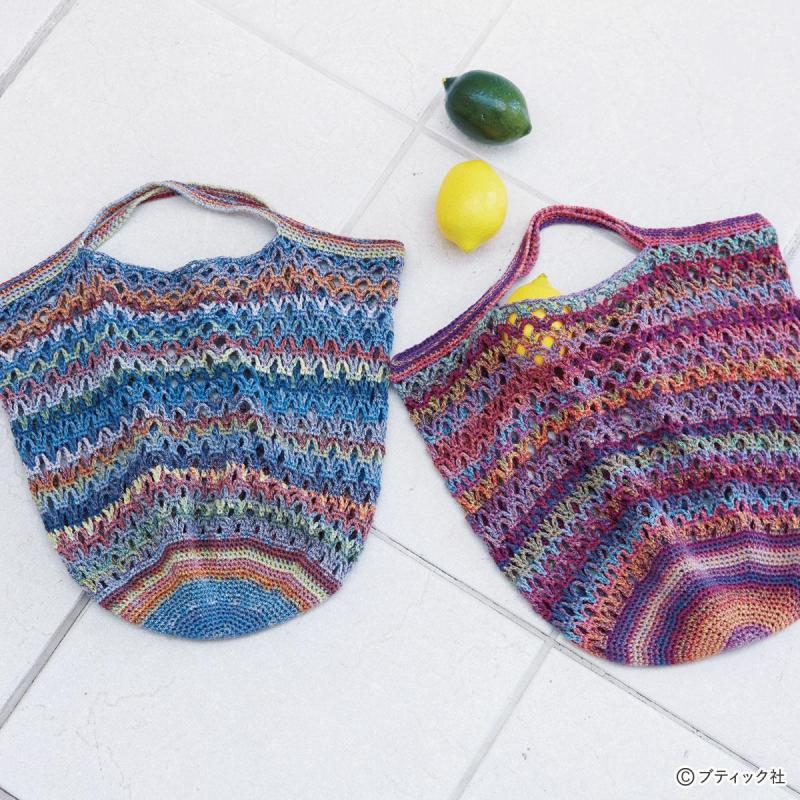 「ネット編みのおしゃれな手さげバッグ」作り方