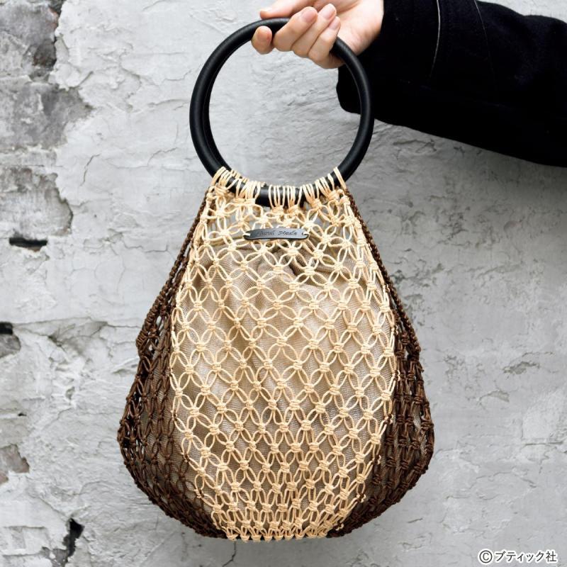 紙ニットを使った「マクラメ編みのレーシーバッグ」作り方
