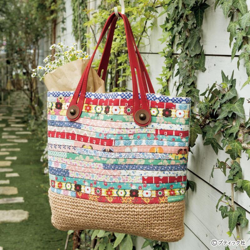 夏に持ちたい「パッチワーク×麻糸で編んだかごバッグ」作り方