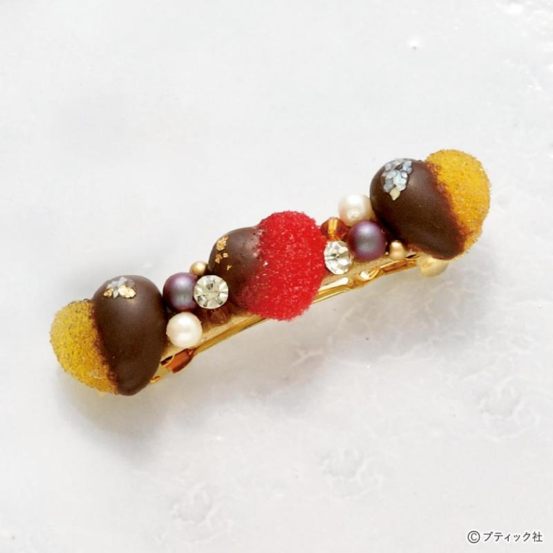 レジンでスイーツアクセサリー「チョコがけグミのバレッタ」作り方
