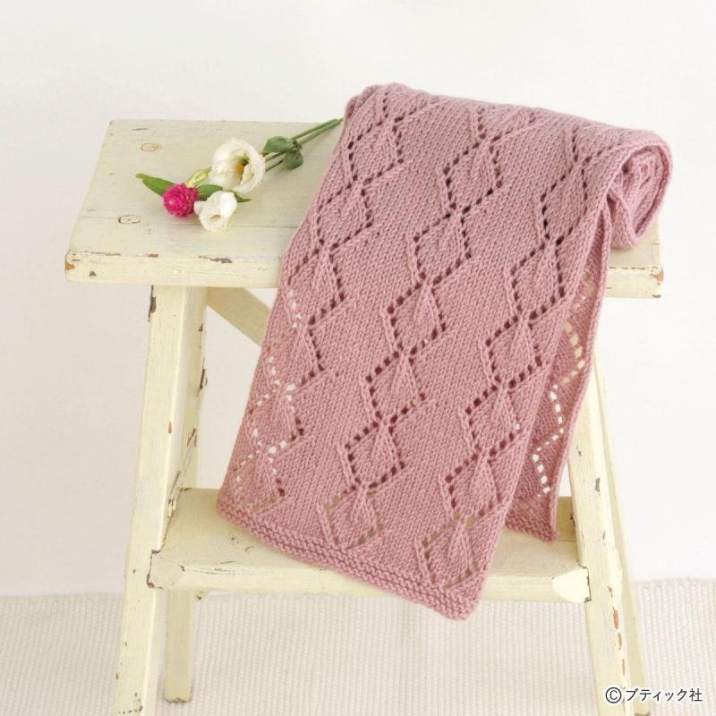 秋にぴったり!「透かし編みのストール」編み方