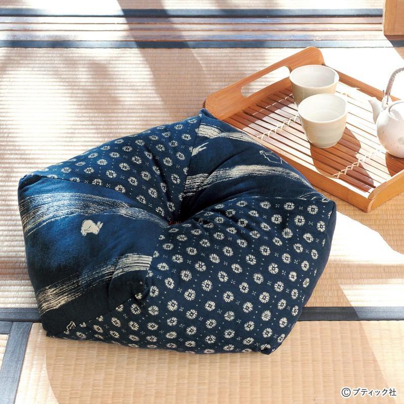 藍色がおしゃれな「クッション座布団」作り方