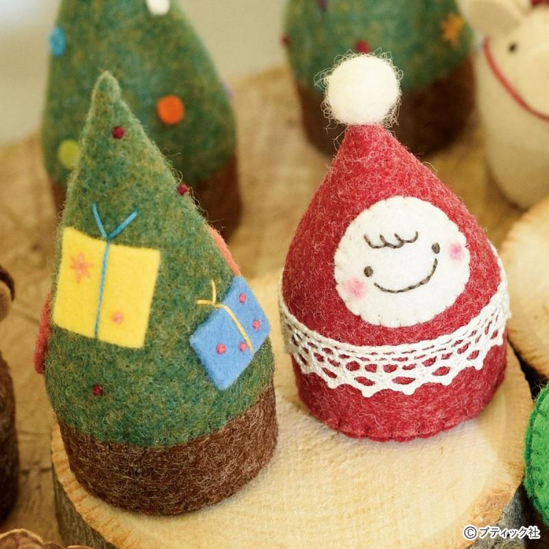 フェルトのころんとマスコット「おちびサンタとクリスマスツリー」作り方