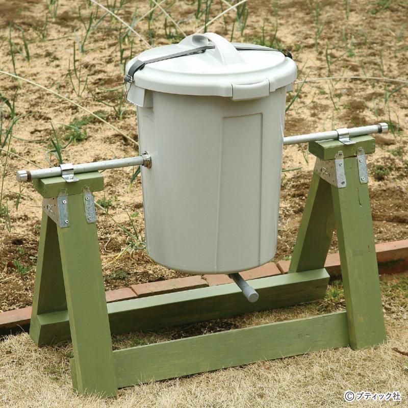 家庭菜園の便利アイテム「ポリバケツの回転式コンポスト」の作り方
