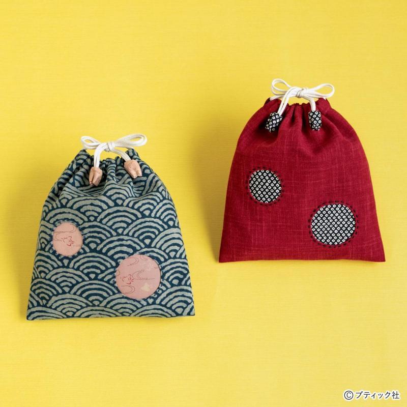 ハギレ&アップリケで作る「シンプルな巾着」の作り方