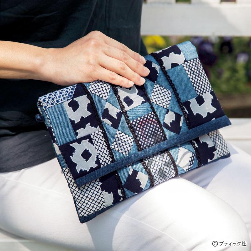 パッチワーク「藍染めの2WAYクラッチバッグ」の作り方