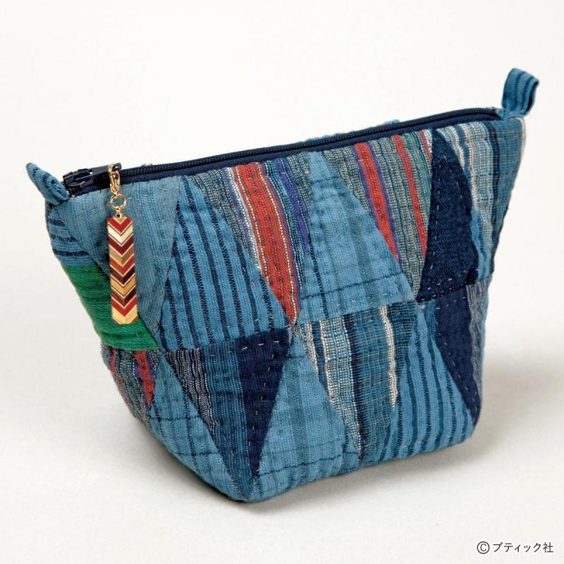 パッチワーク「しじら織のポーチ」の作り方