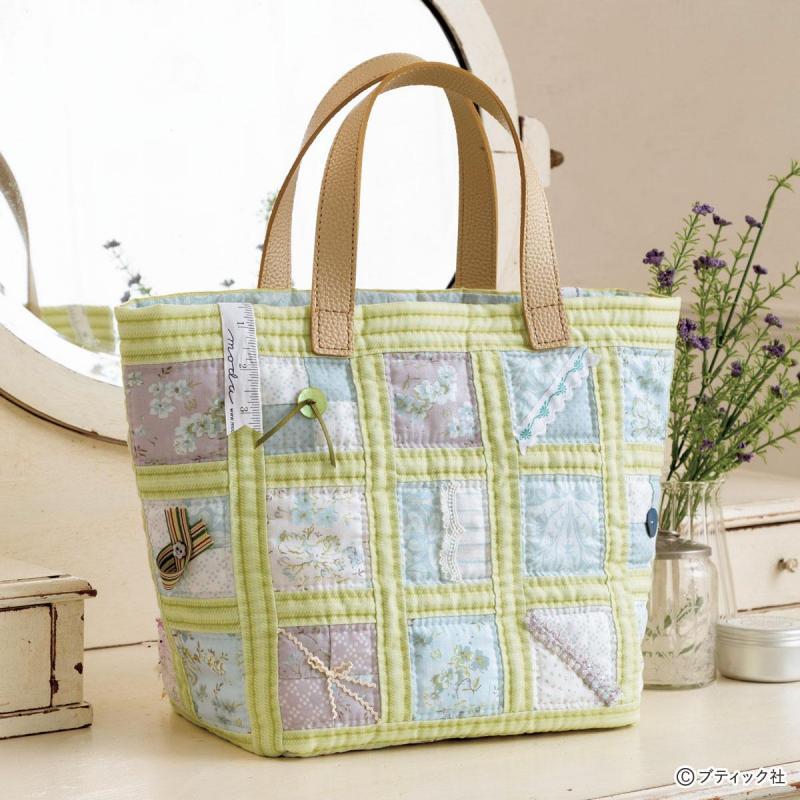 春を感じる「爽やかなパッチワークのトートバッグ」作り方