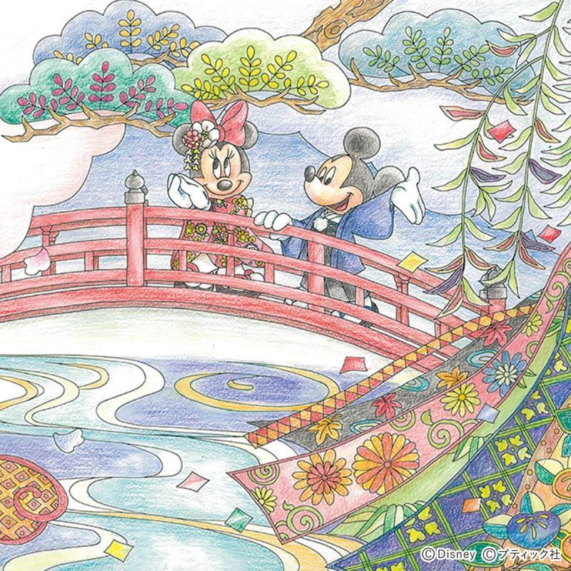 「日本の旅~着物のミッキー&ミニー」の塗り絵(図案のダウンロードあり)