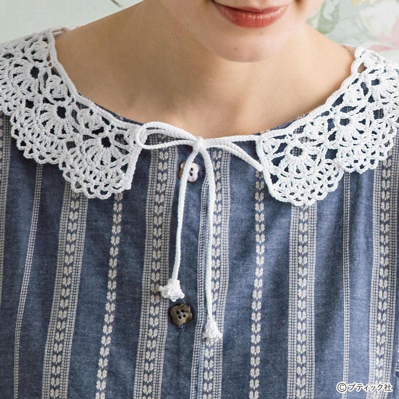 金票で編む「スカラップの付け衿」の作り方