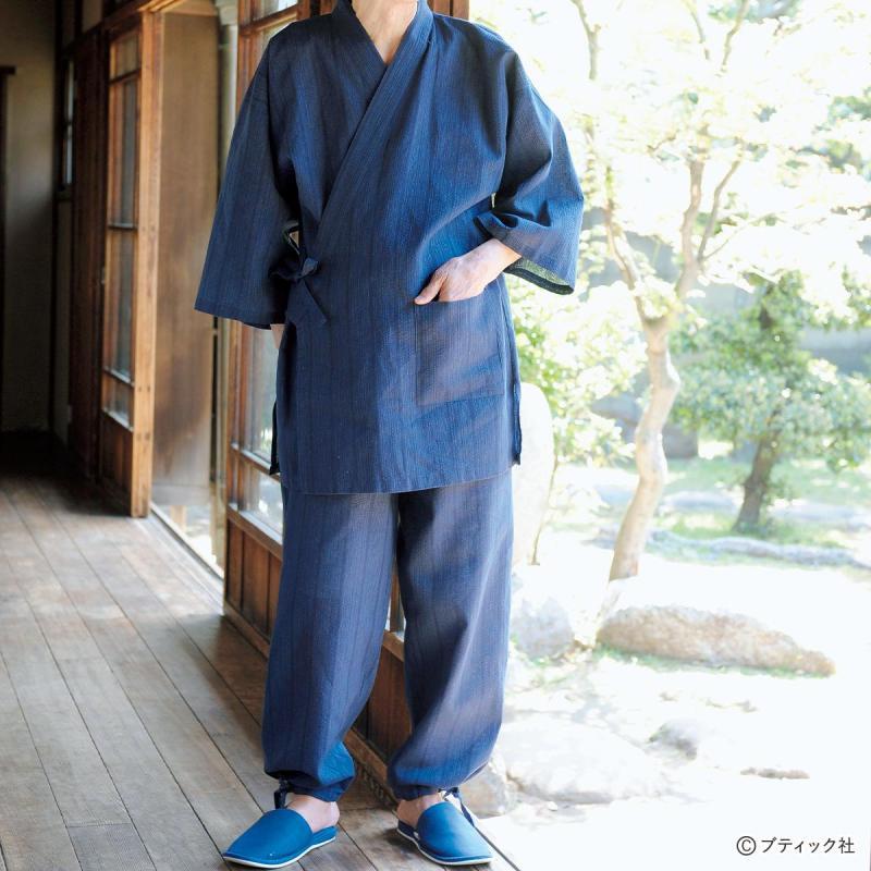 「夏素材の涼しげな男性用作務衣」の作り方