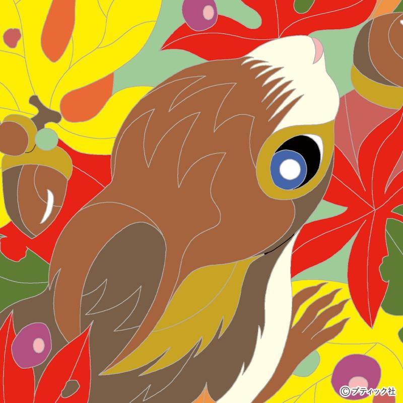 脳活性塗り絵「リスと落ち葉」