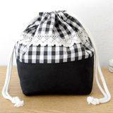 シックな黒×白のギンガムチェック巾着の作り方(布小物)