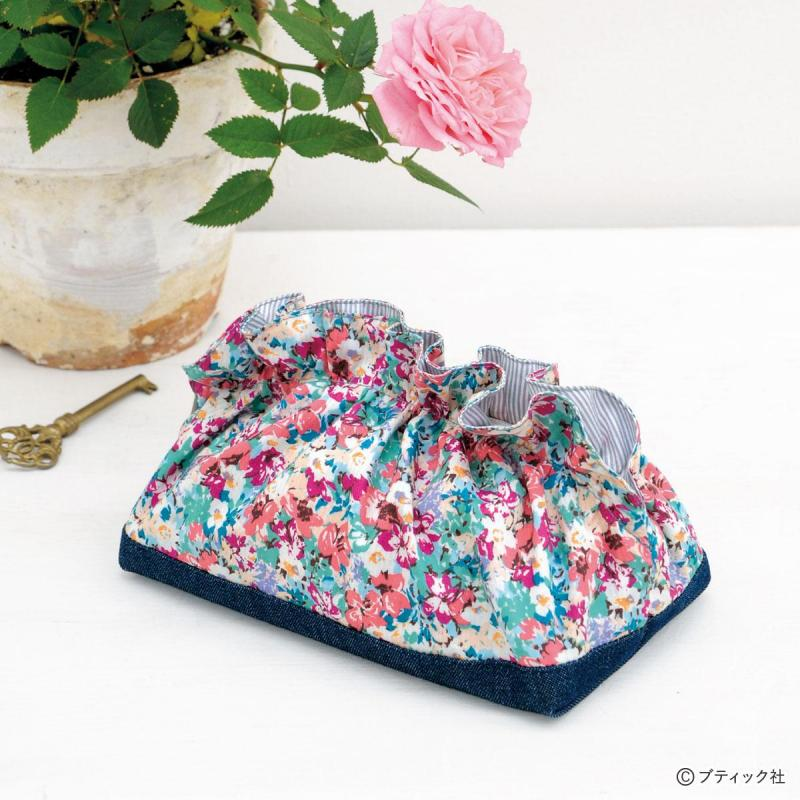 余り布で作れる!フリルがかわいい花柄のポーチの作り方