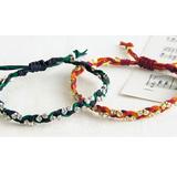 ダイヤレーンと革ひもの三つ編みブレスレットの作り方
