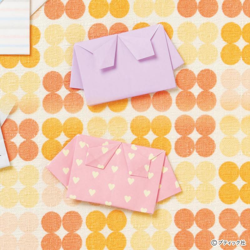 【折り紙で作る】かわいいリボン付きセーラー服の手紙の折り方