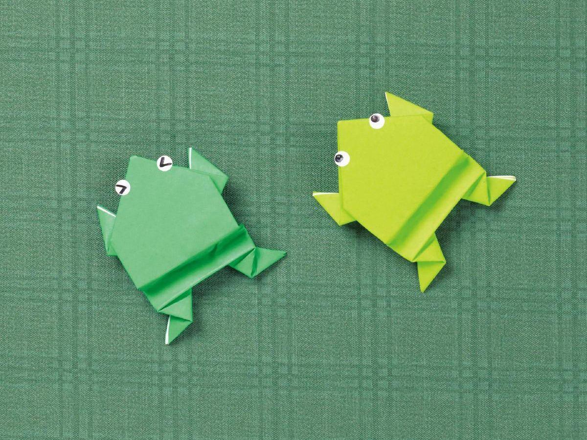 折り紙 ぴょんぴょん カエル