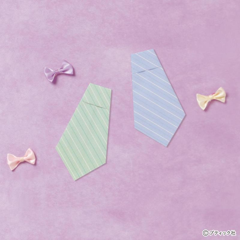 【父の日 折り紙】 手紙にもなる ネクタイの折り方