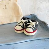 赤ちゃんに手編みしたい!元気なハイカットスニーカーのベビーシューズの作り方(ベビー)