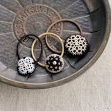 タティングレースとパールがかわいい!くるみボタンのヘアゴムの作り方(ヘアアクセサリー)