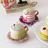 色合いが可愛い!コーヒーカップのピンクッションの作り方(パッチワーク)