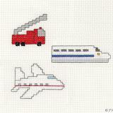 【簡単】新幹線・消防車・飛行機のクロスステッチの図案